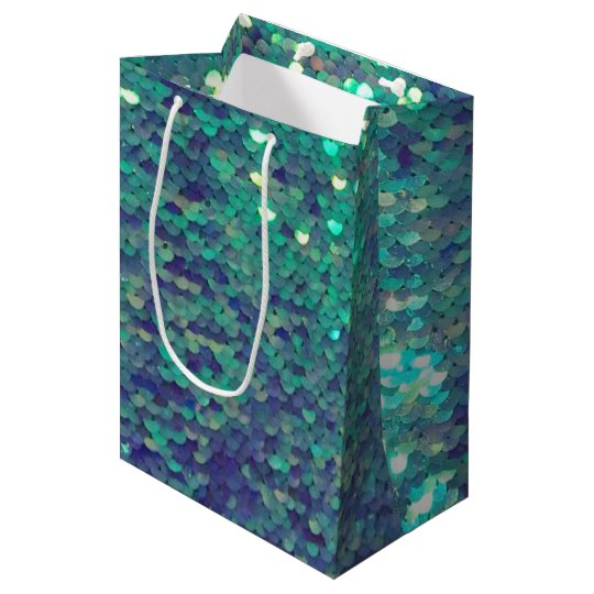 mermaid teal aqua blue sequin pattern medium gift