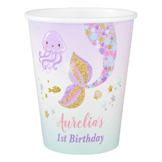 Mermaid Under The Sea Birthday Paper Cup Pink Gold