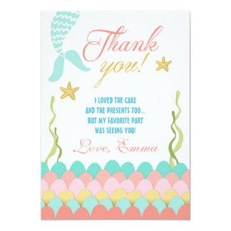 Mermaid Under the Sea Birthday Thank You Card