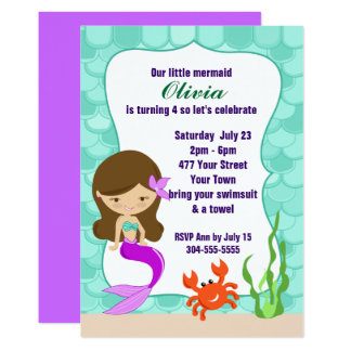 Mermaid Under The Sea Pool Party 13 Cm X 18 Cm Invitation Card