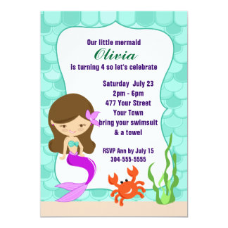 Mermaid Under The Sea Pool Party 13 Cm X 18 Cm Invitation Card