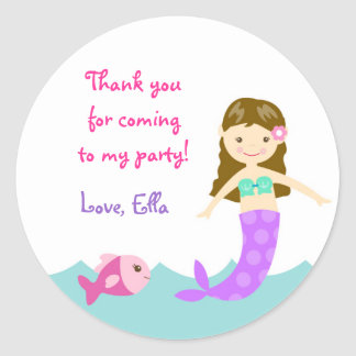 Mermaid Under The sea Round Favor Stickers