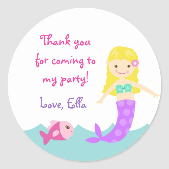 Mermaid Under the Sea Round Favour Stickers Seals