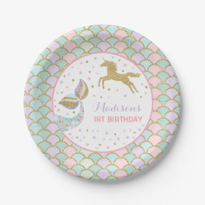 Mermaid & Unicorn Gold Paper Plate 7