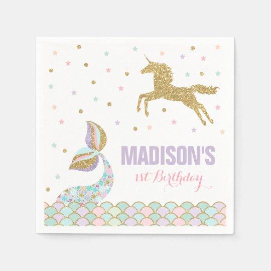 Mermaid & Unicorn Party Napkin Whimsical Unicorn Paper