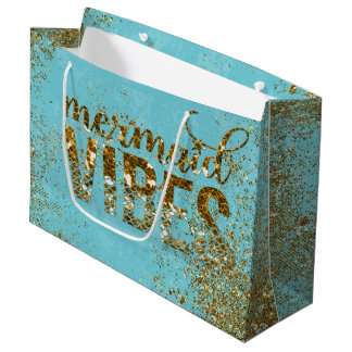 Mermaid Vibes- Gold Glitter Typography on Teal Large Gift Bag