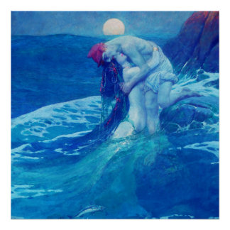 Mermaid Vintage Blue 2 Poster