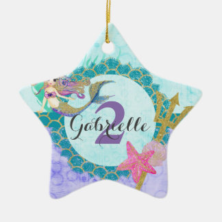 Mermaid Watercolor Name & Age Baby Girl Birthday Ceramic Star Decoration