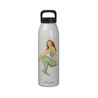 Mermaid Watercolor Painting, Drawing, Art Reusable Water Bottle