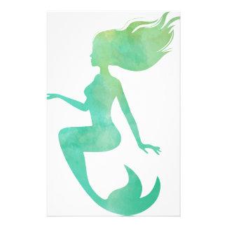 Mermaid watercolor stationery