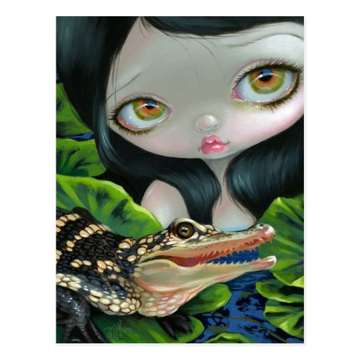 """""""Mermaid with a Baby Alligator"""" Postcard"""