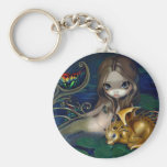 """""""Mermaid with a Golden Dragon"""" Keychain"""