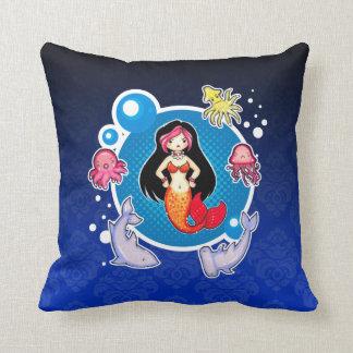 Mermaid with Attitude Blue Throw Pillow Cushions