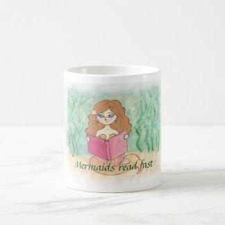 mermaid with book coffee mug