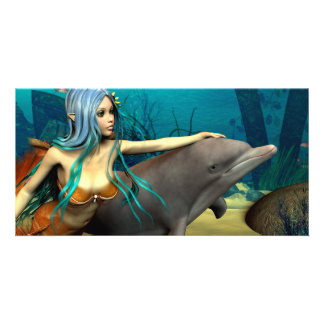 Mermaid with Dolphin Personalised Photo Card