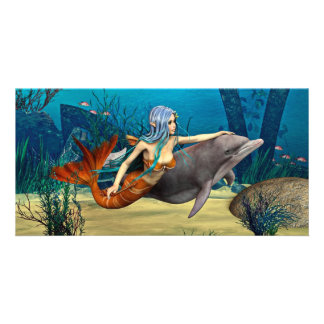 Mermaid with Dolphin Photo Greeting Card