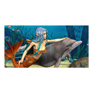 Mermaid with Dolphin Picture Card