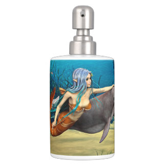 Mermaid with Dolphin Soap Dispenser And Toothbrush Holder