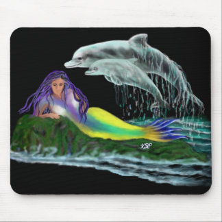 Mermaid with dolphins mouse mat