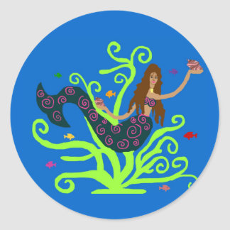Mermaid with fish stickers