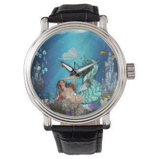 Mermaid With Fish Wrist Watch