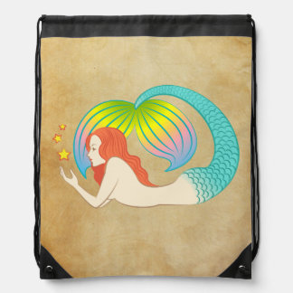 Mermaid with floating stars drawstring bag