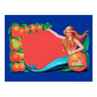 Mermaid with Fruit Vintage Crate Art Postcard