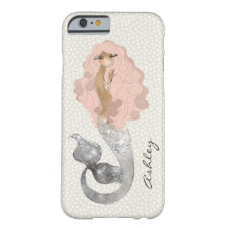 Mermaid with Pink Hair and Your Monogram Barely There iPhone 6 Case