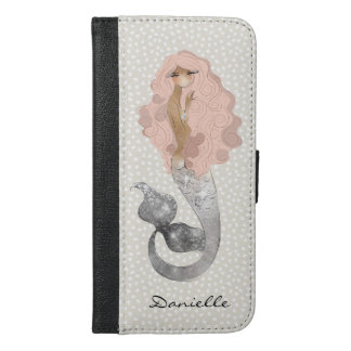 Mermaid with Pink Hair and Your Name iPhone 6/6s Plus Wallet Case