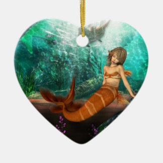 Mermaid with Shipwreck Ceramic Heart Decoration