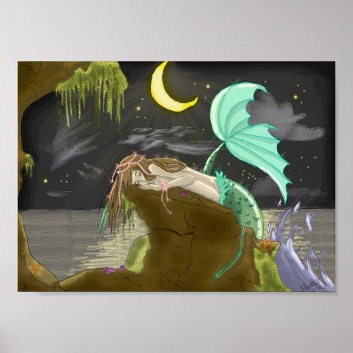 mermaidmoonlight byExperimental Rainbows Poster