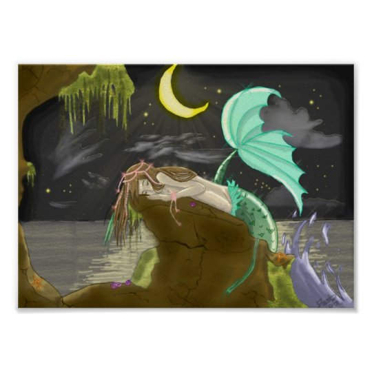 mermaidmoonlight byExperimental Rainbows Poster