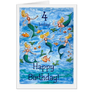 Mermaids 4th Birthday Card