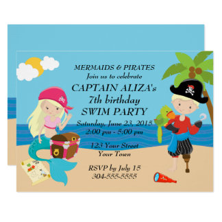 Mermaids and Pirates Birthday Party 13 Cm X 18 Cm Invitation Card