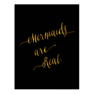 Mermaids Are Real Quote Gold Faux Foil Black Postcard