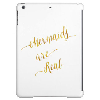 Mermaids Are Real Quote Gold Faux Foil White