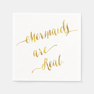 Mermaids Are Real Quote Gold Faux Foil White Disposable Serviette