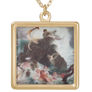 Mermaids at Play, 1886 (oil on canvas) Square Pendant Necklace