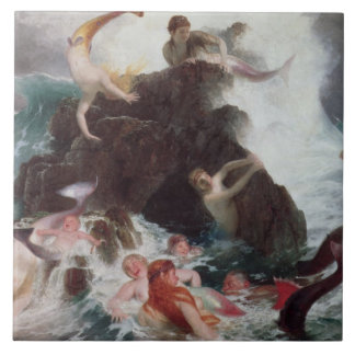 Mermaids at Play, 1886 (oil on canvas) Tile