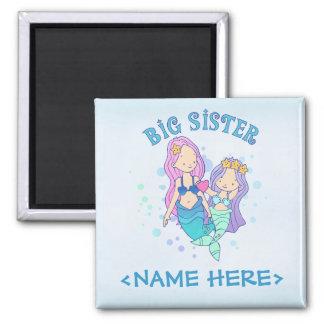 Mermaids Big Sister Square Magnet