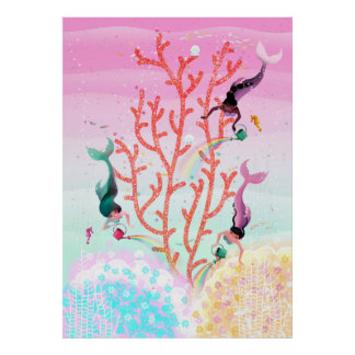 Mermaids' Coral Garden childrens' illustration Poster