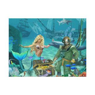 Mermaid's Coral Reef Treasure Canvas Print