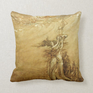 Mermaids Fishing For Pearls Pillow