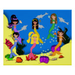 Mermaids in Ocean with Dolphins Poster