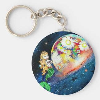 Mermaids in space key ring
