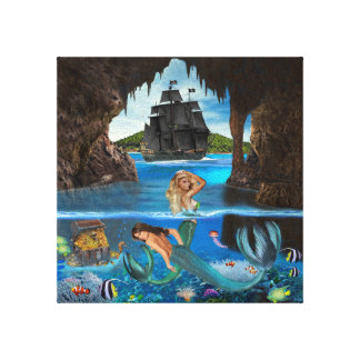 MERMAIDS OF THE PIRATE CAVE CANVAS PRINT