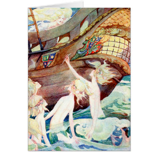 Mermaids Sisters and Ship Card