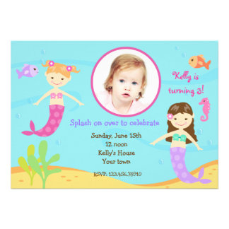 Mermaids Under the sea birthday invitations