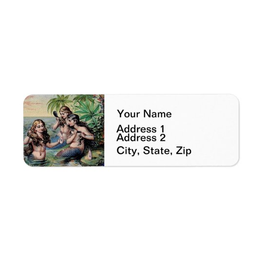 Mermaids Victorian Vintage Illustration Artwork Return Address Label