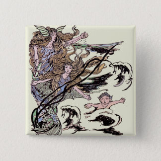 Mermaids Vintage Victorian Illustration 15 Cm Square Badge